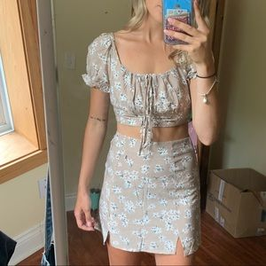 2 piece set with skirt and crop top